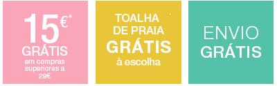 15€* grátis + Toalha de praia grátis à escolha + envio grátis