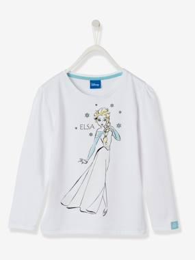 Camisola de menina Frozen®, mangas compridas branco claro liso com motivo