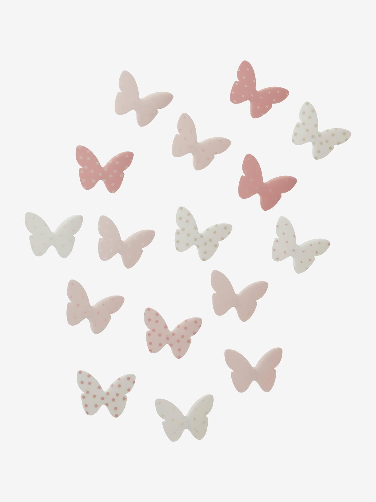 Lote de 14 decorações com borboletas, para quarto de menina rosa claro estampado