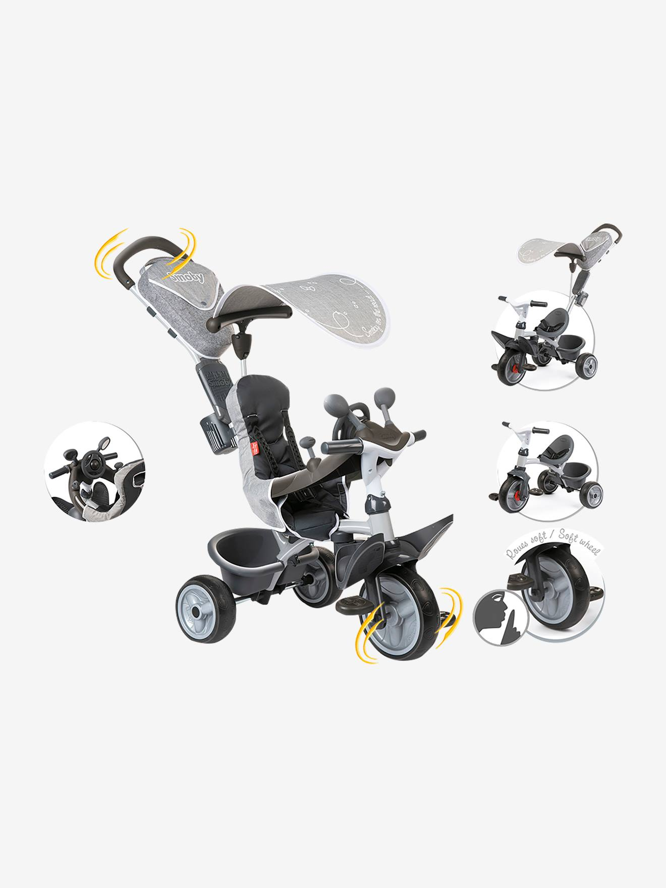 Triciclo Baby Driver Confort, da SMOBY cinzento medio liso