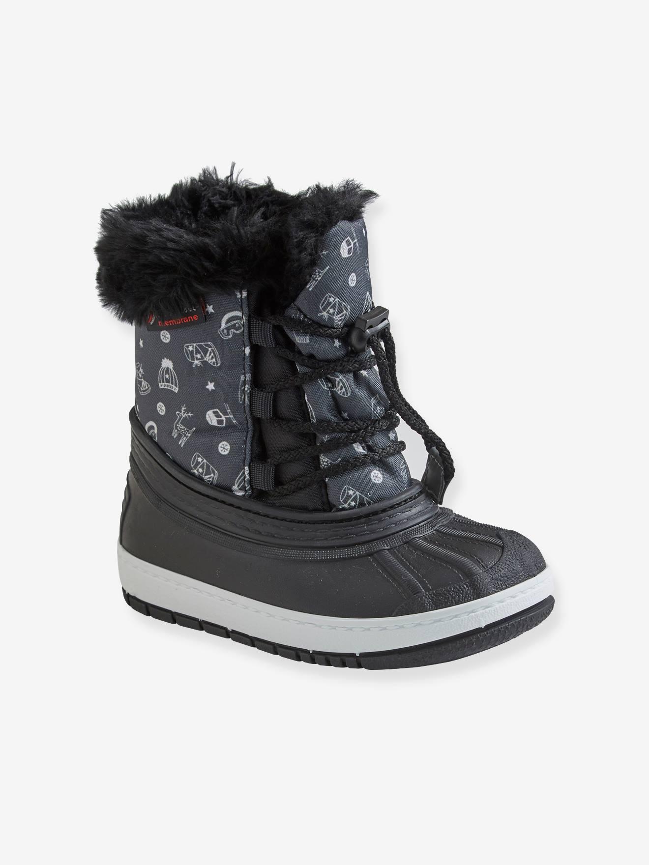 Botas de neve com atacadores, para menino preto escuro estampado