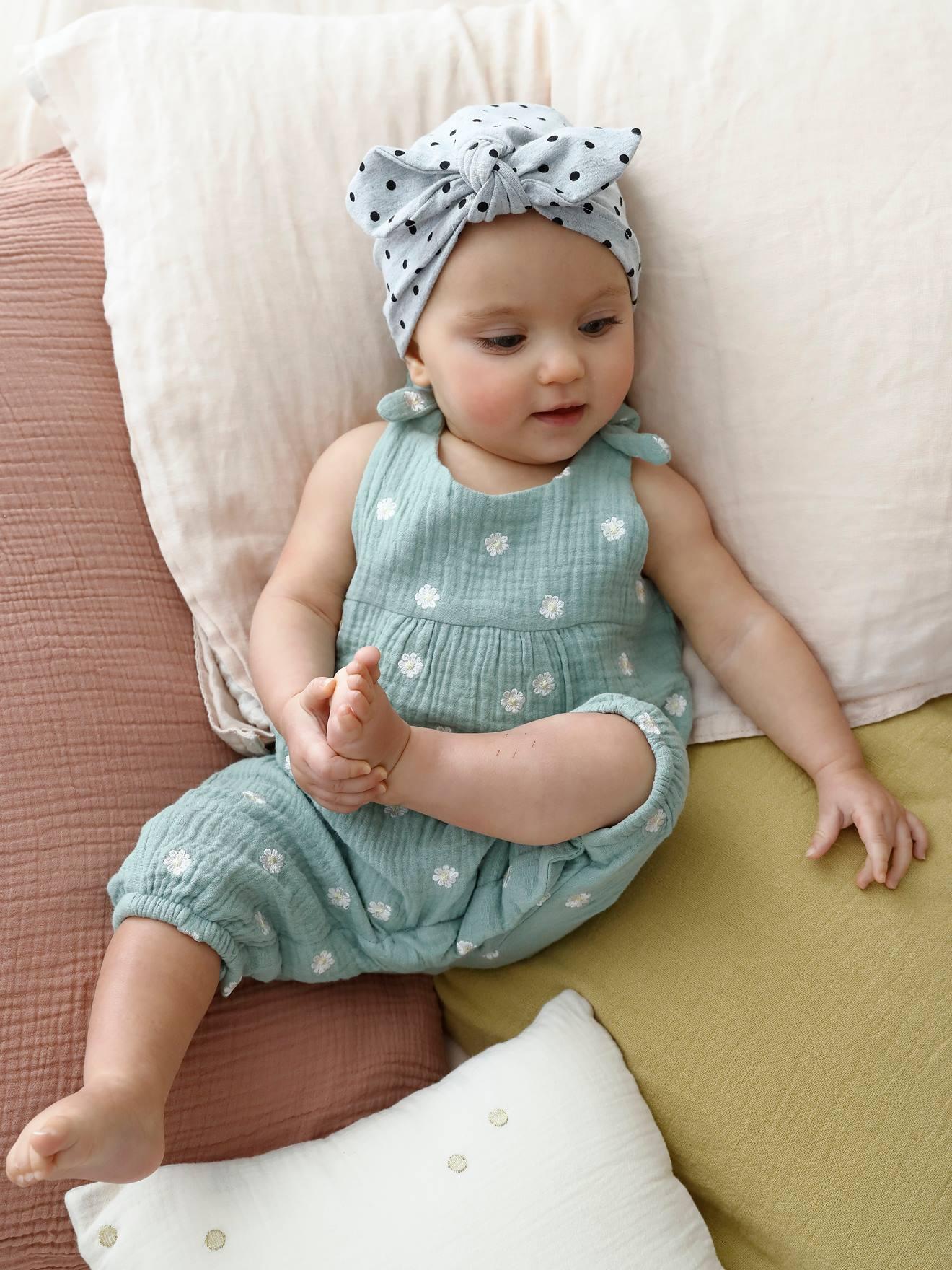Macacão recém nascido, bordado em gaze de algodão Bebé 0 36 meses Vertbaudet | vertbaudet.pt