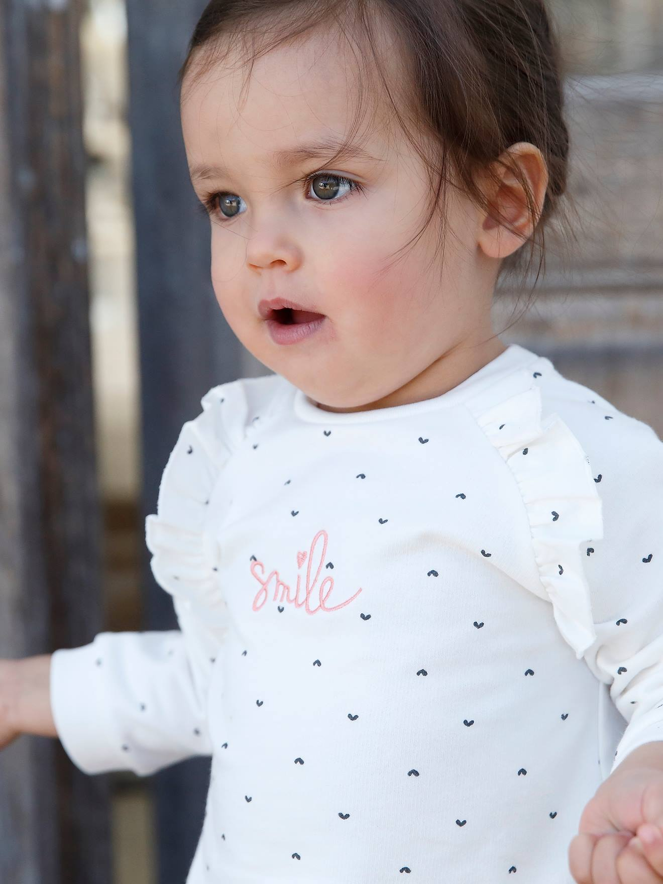 Sweat com folhos e mensagem, para bebé menina branco claro estampado
