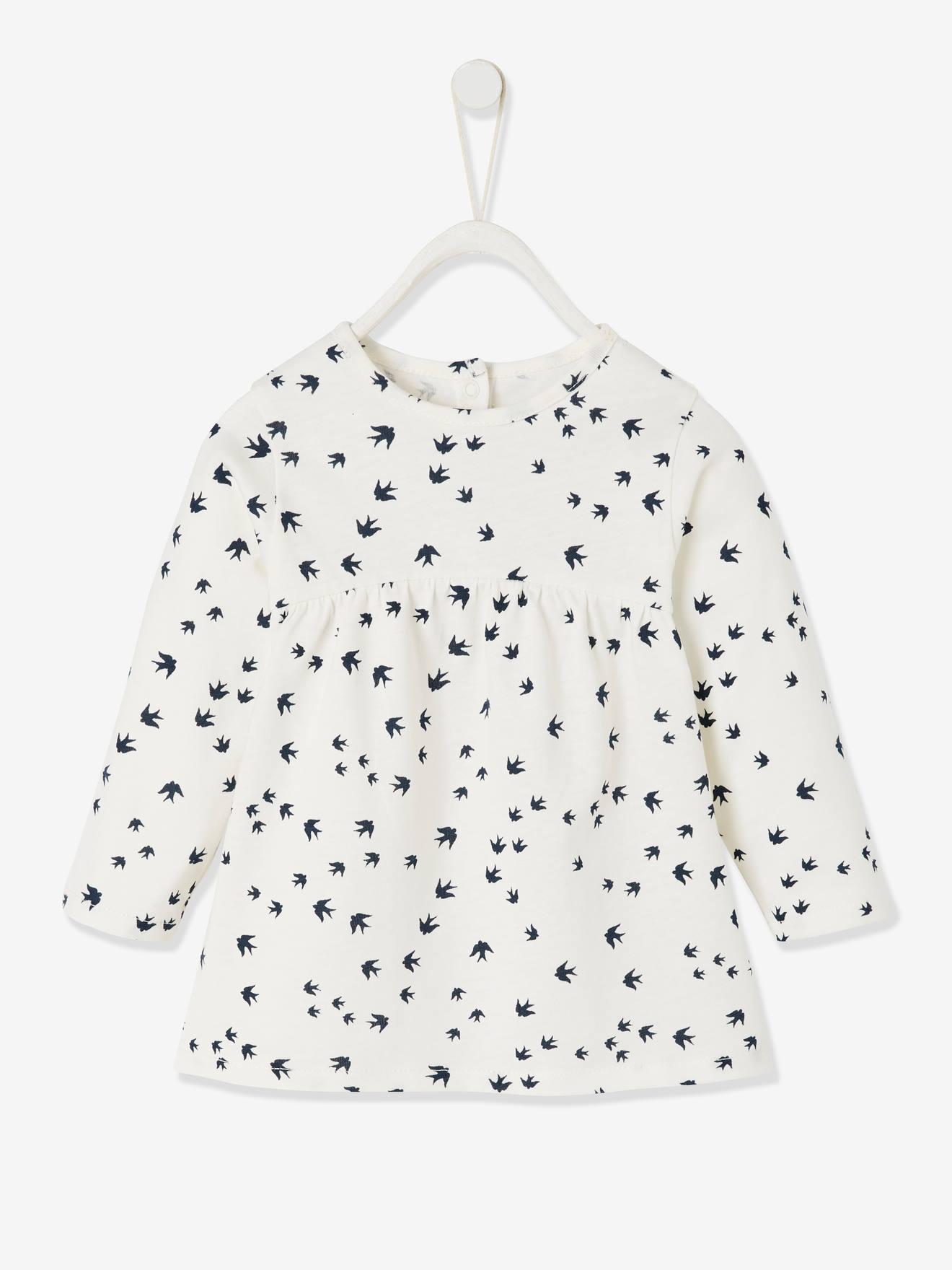 Camisola estampada para bebé menina branco claro estampado
