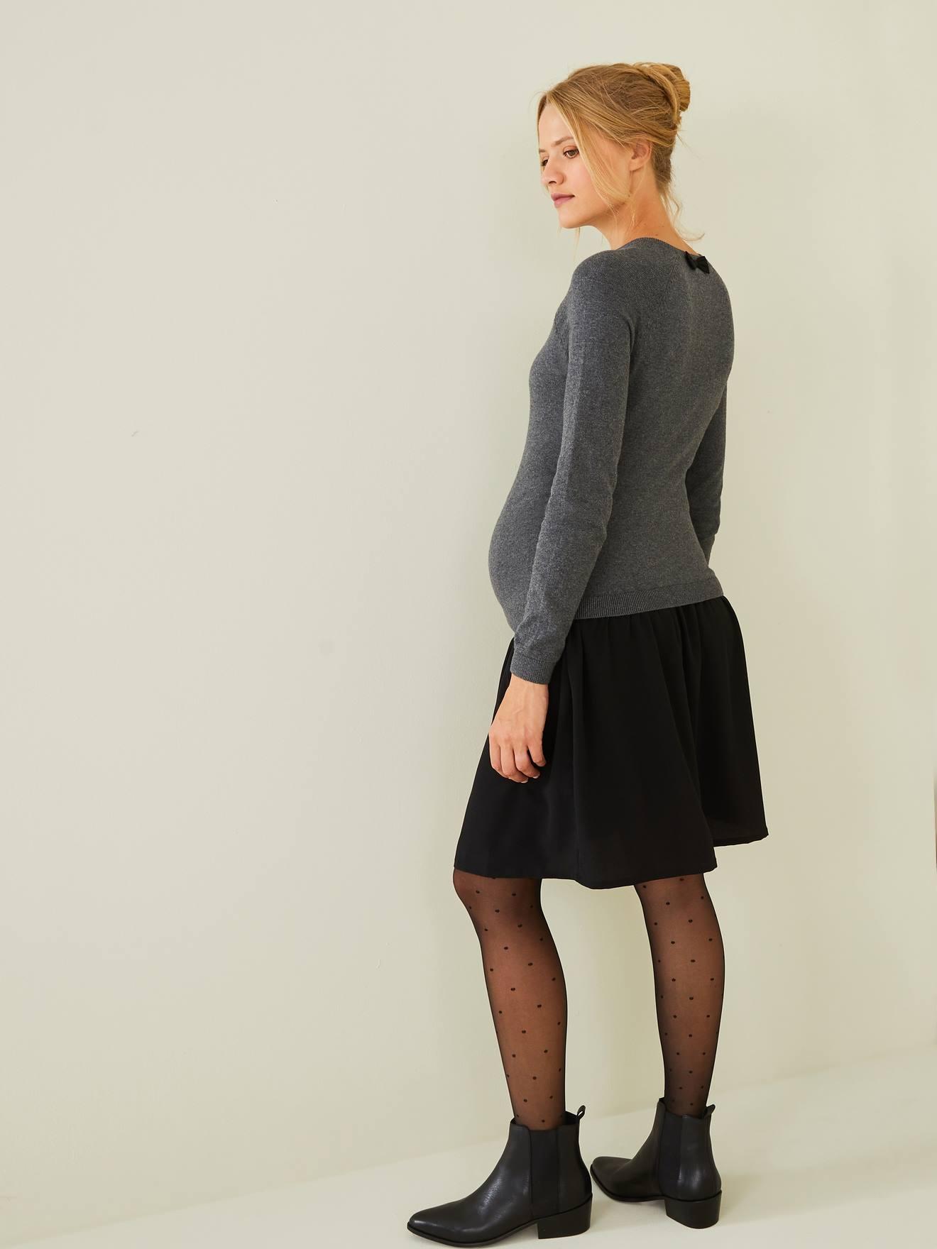 VERTBAUDET - Vestido bimatéria, especial gravidez e amamentação cinzento escuro mesclado