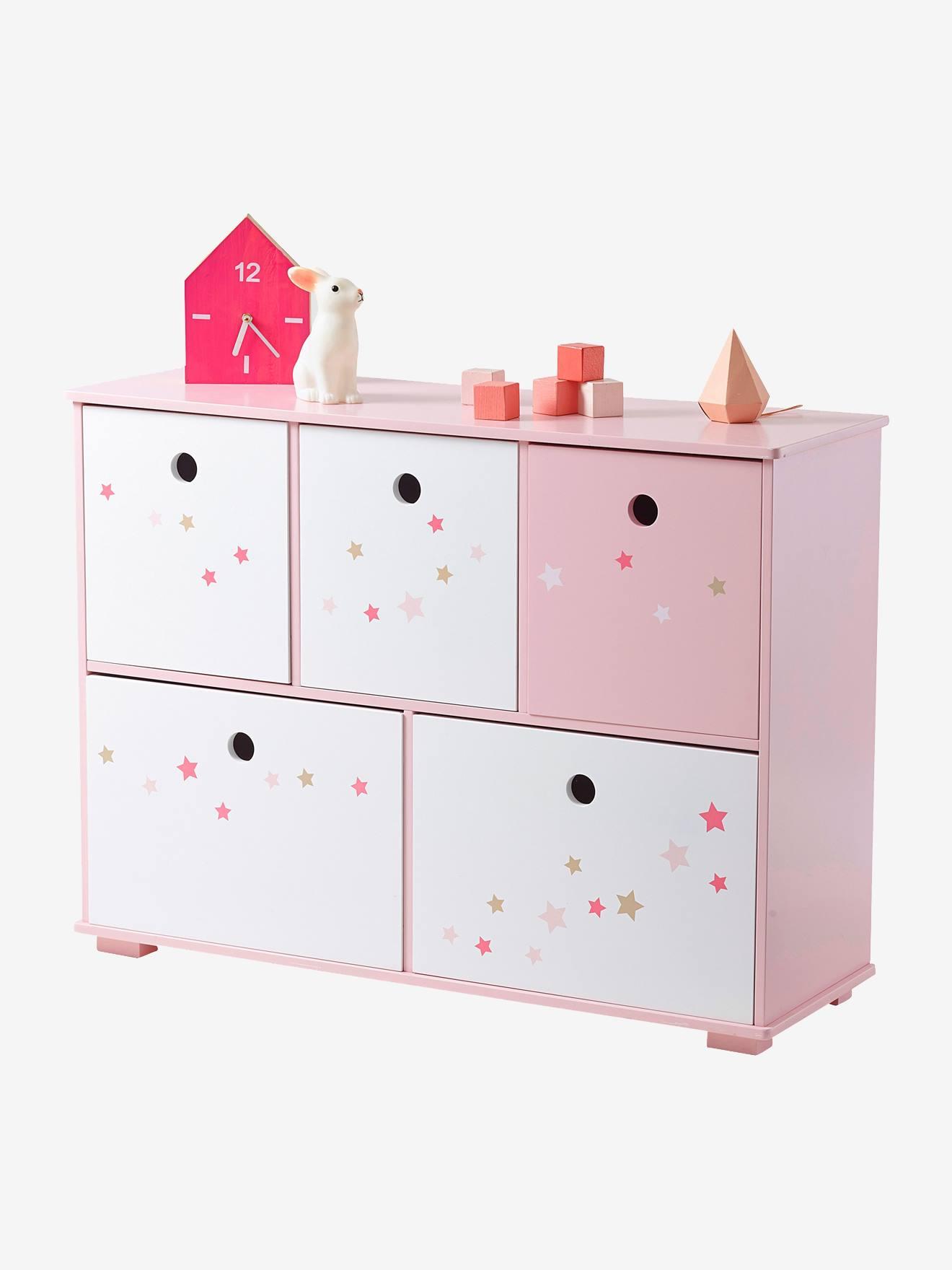 Móvel de arrumação com 5 compartimentos, tema Histórias fabulosas rosa estrelas