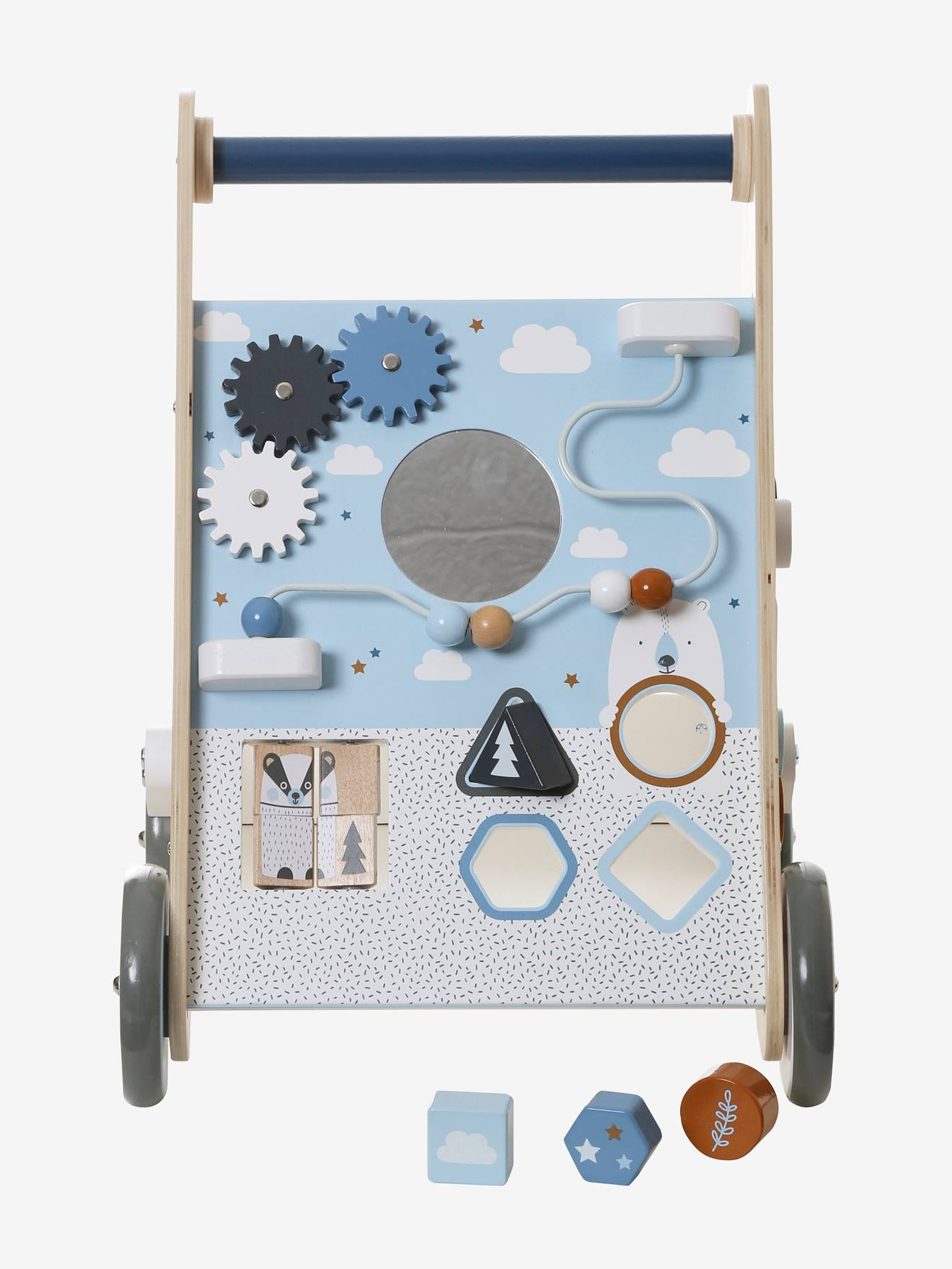 Carrinho de marcha, com travões, em madeira azul medio liso com motivo