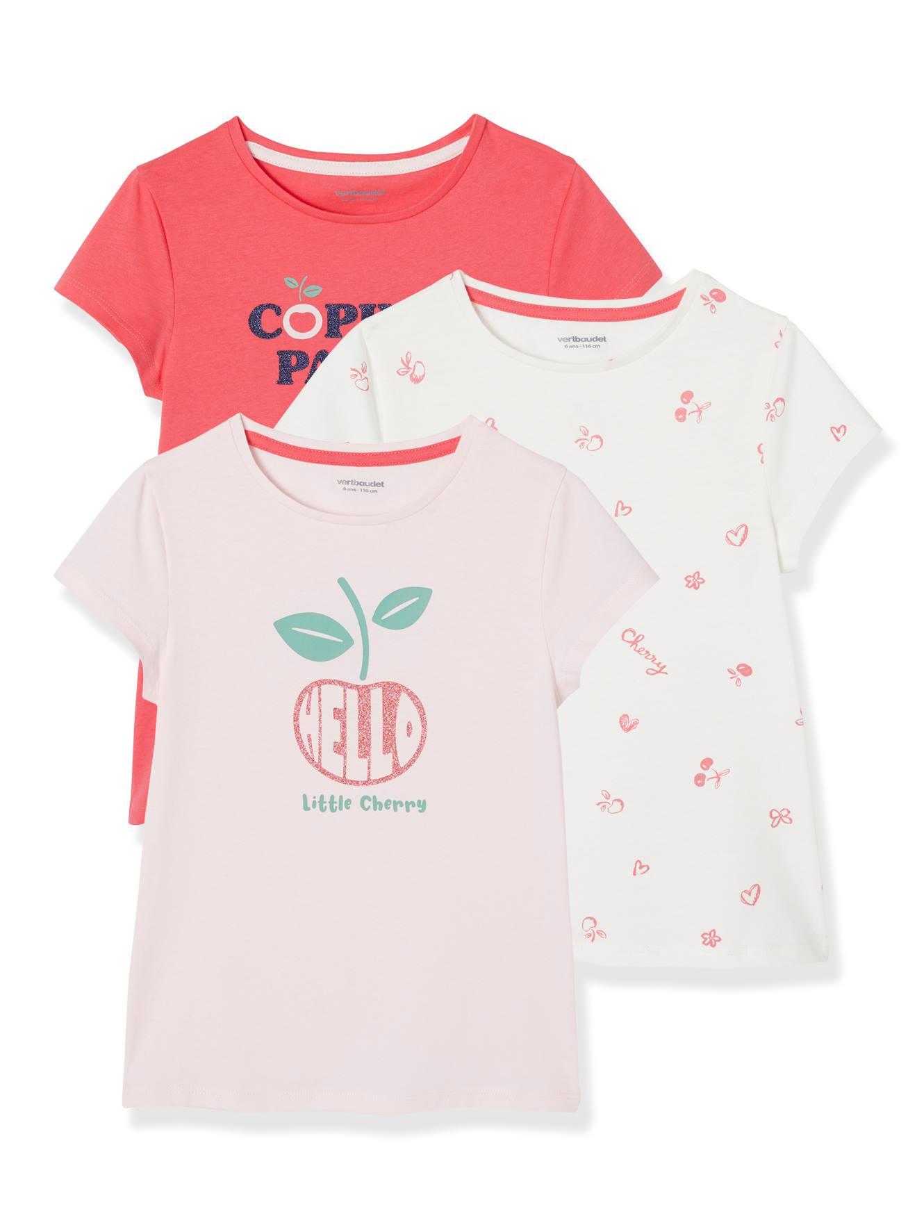 Lote de 3 t-shirts sortidas com detalhes irisados, para menina rosa claro bicolor/multicolor
