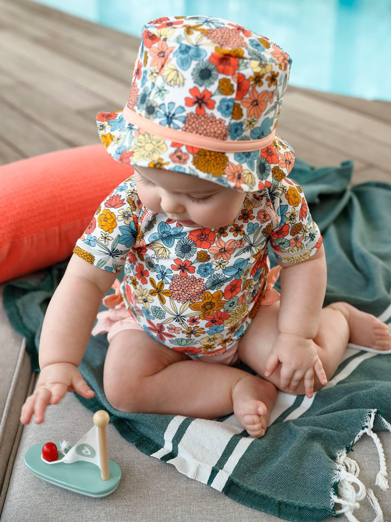Conjunto de banho anti-UV: chapéu + T-shirt, para bebé menina branco claro bicolor/multicolo