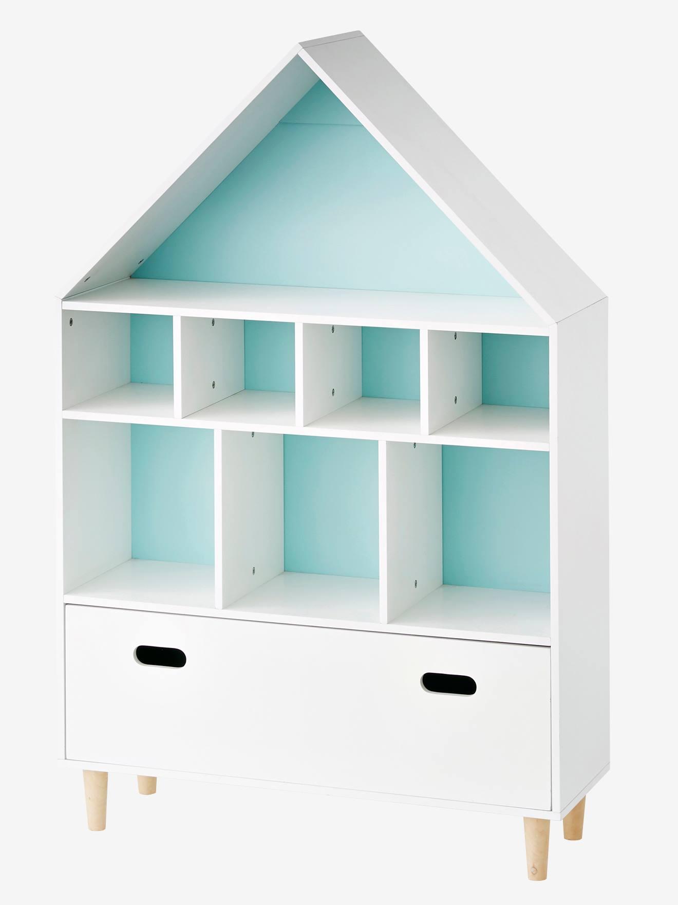 Móvel de arrumação em forma de casa branco/azul
