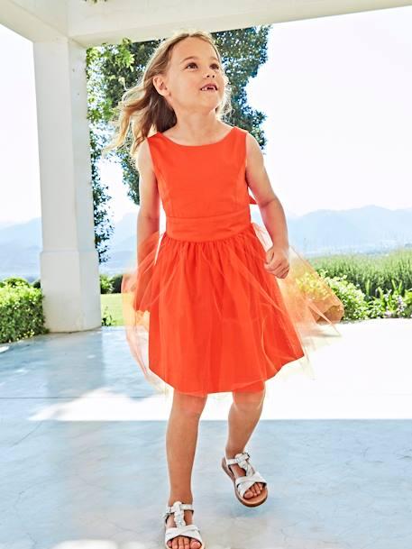 8976571b9487 Vestido de cerimónia em cetim e tule, para menina-Menina 2-14 anos ...