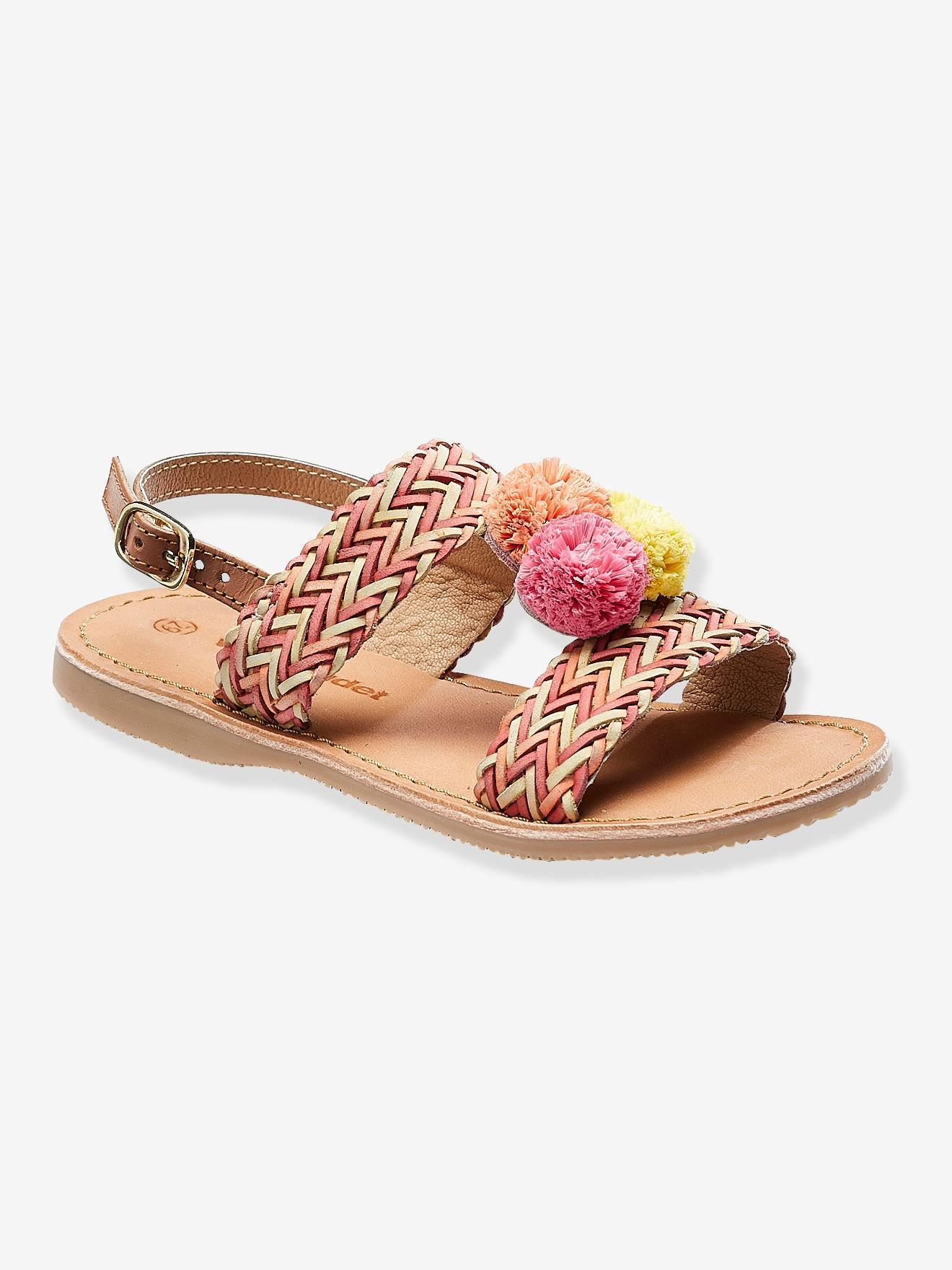 Sandálias em pele com pompons, para menina Calçado Vertbaudet   vertbaudet.pt