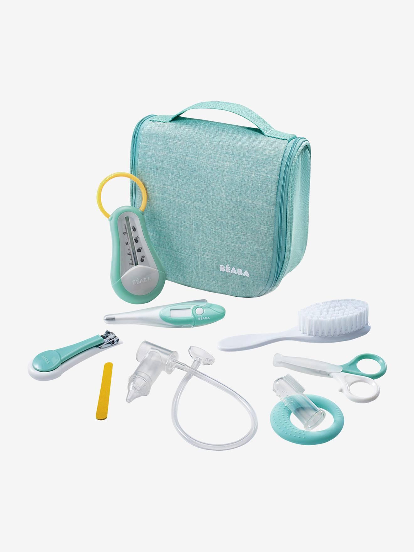 Bolsa para cuidados de higiene, 9 acessórios, da BEABA verde medio mesclado