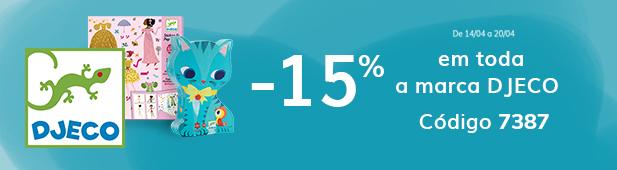 -15% em toda a marca Djeco código 7387